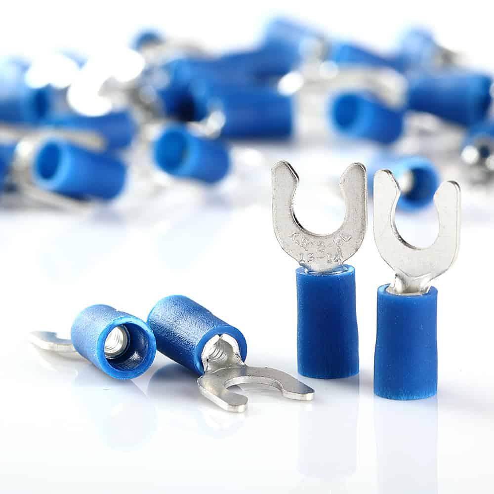 16-14 GAUGE VINYL LOCKING SPADE # 10 CONNECTOR BLUE CRIMP TERMINAL AWG 100pcs