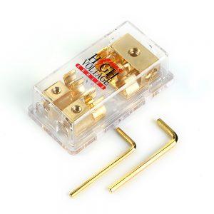 gold plated mongoose 2-gang agu fuse block three 4 gauge input three 8 ga  output monag2